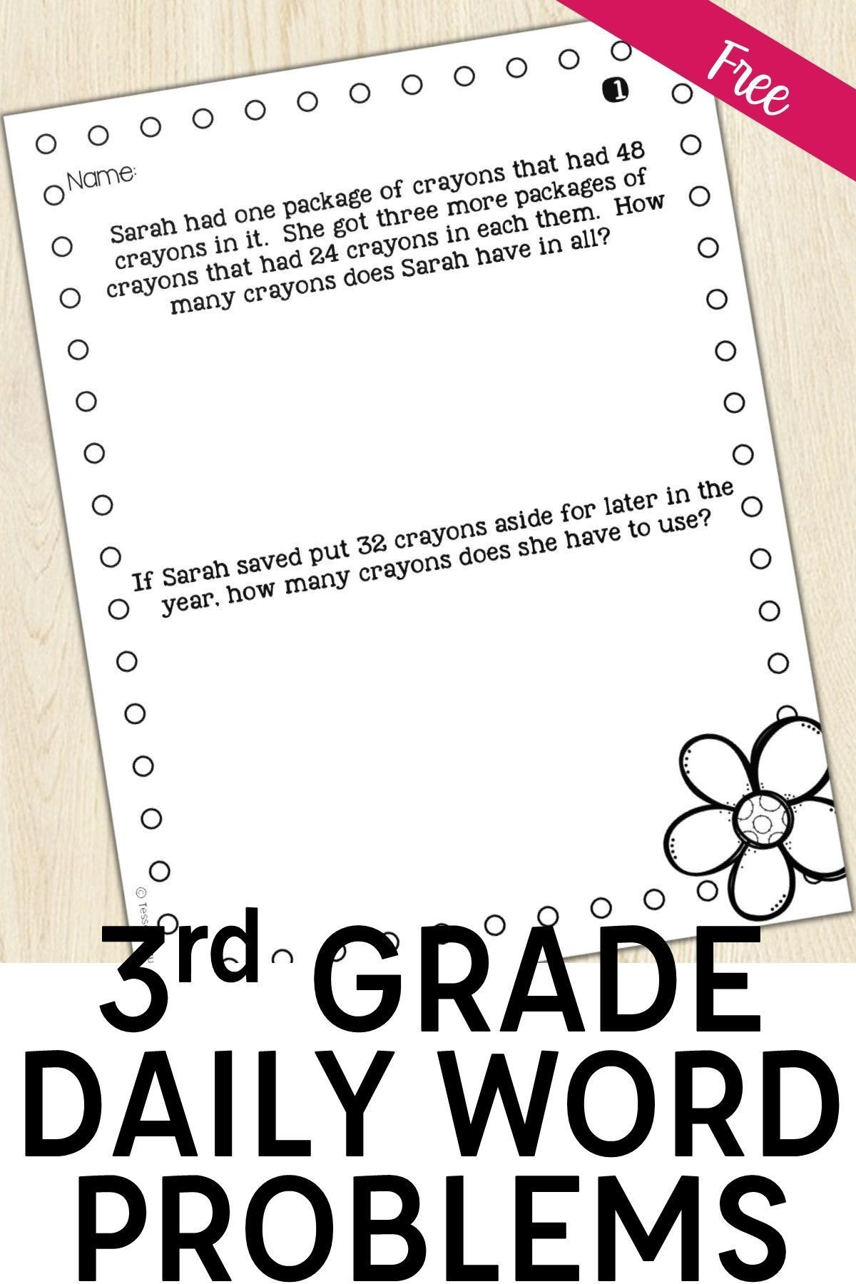 3rd Grade Word Problems Of The Day Back To School