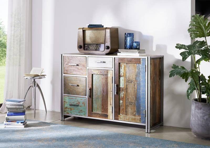 Wohnzimmer Schränke | Sideboard Altholz 130x45x85 Mehrfarbig Lackiert New York 06 Jetzt