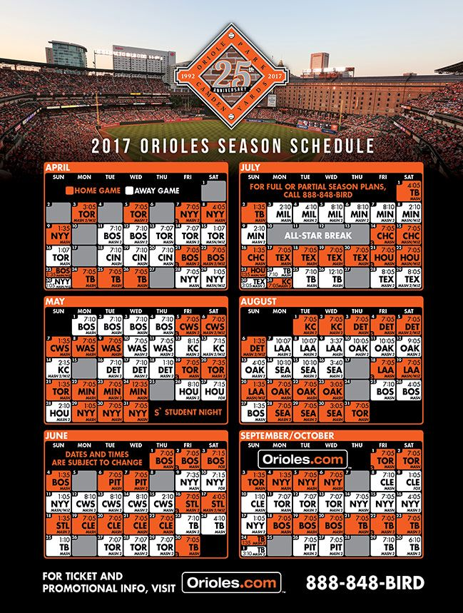 It is a photo of Clever Orioles Printable Schedule