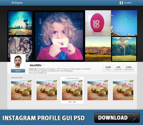 Download Instagram Profile GUI PSD http\/\/downloadpsd\/gui - free profile templates