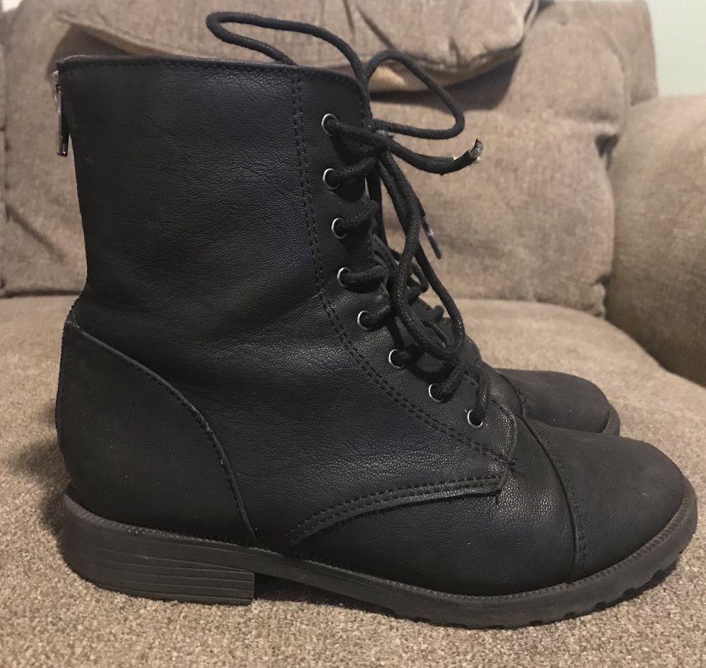 Target Black Combat Boots Girls Size 2