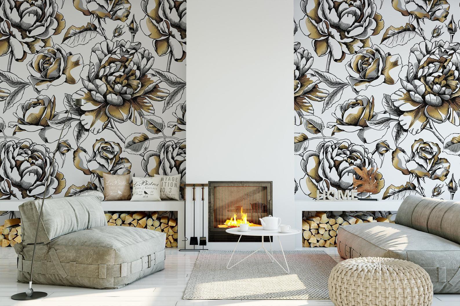 Verwisselbare Peel en stick wallpaper/goud wit en zwart