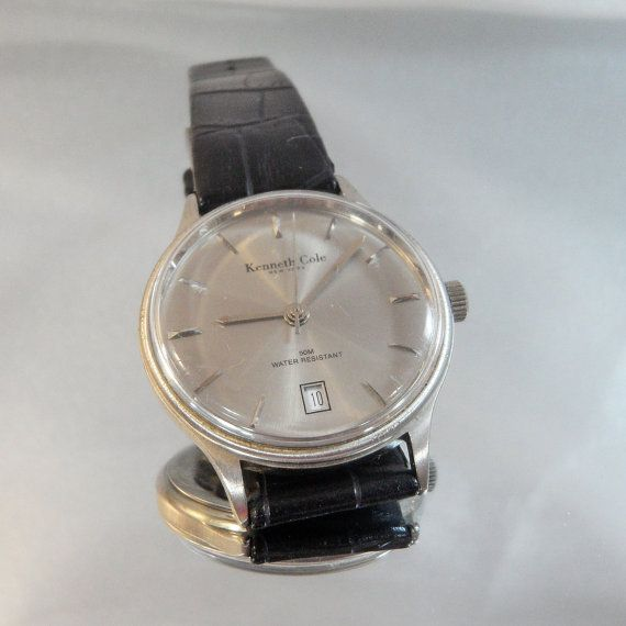 e0152edd1a2 Vintage Kenneth Cole Watch. Men s Watch. Water Resistant. Gucci Leather  Band.