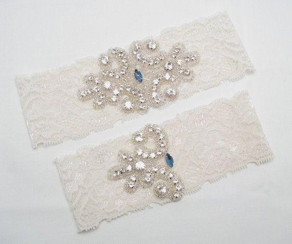Ivory Something Blue Wedding Garter Lace Bridal Crystal Rhinestone Set
