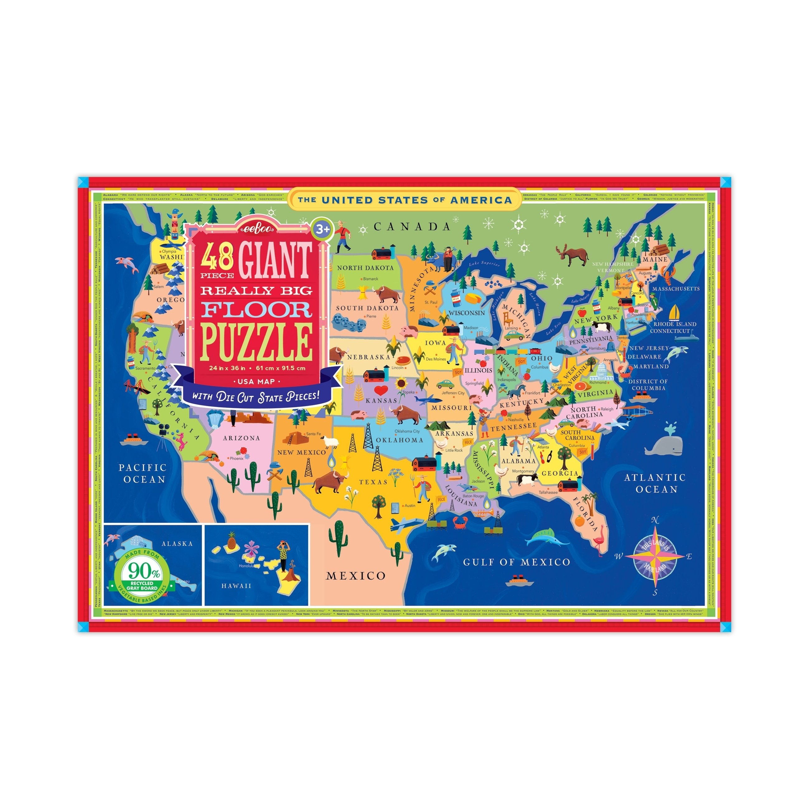 Giant Really Big Floor Puzzle Usa Map 48 Pcs In 2019