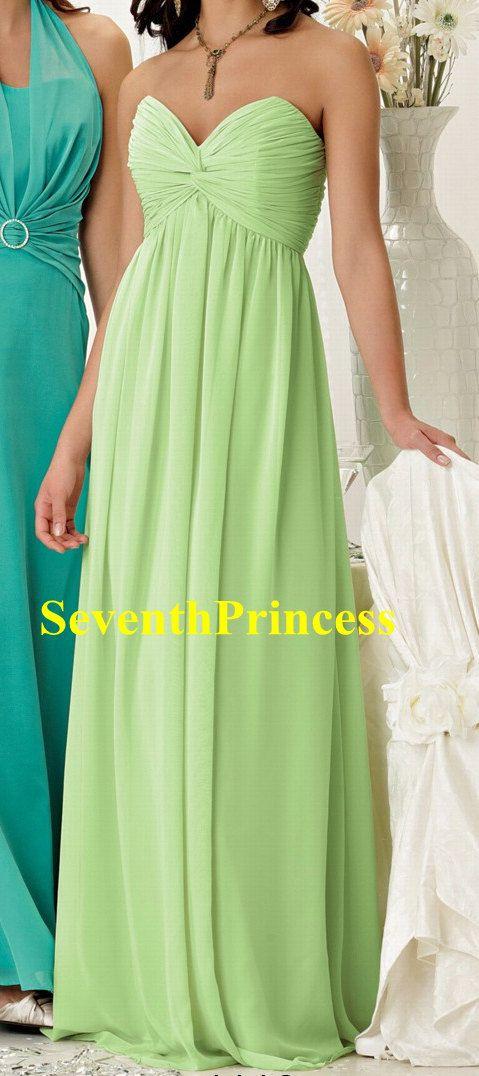 Knot Vneck/Sweetheart Sage Long Bridesmaid by seventhprincess, $119.00
