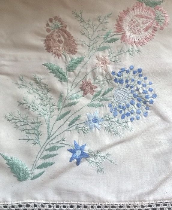 Pair of Cushion Covers- Lace and Embroidery - Vintage linen by TheBusyTipsyGipsy on Etsy