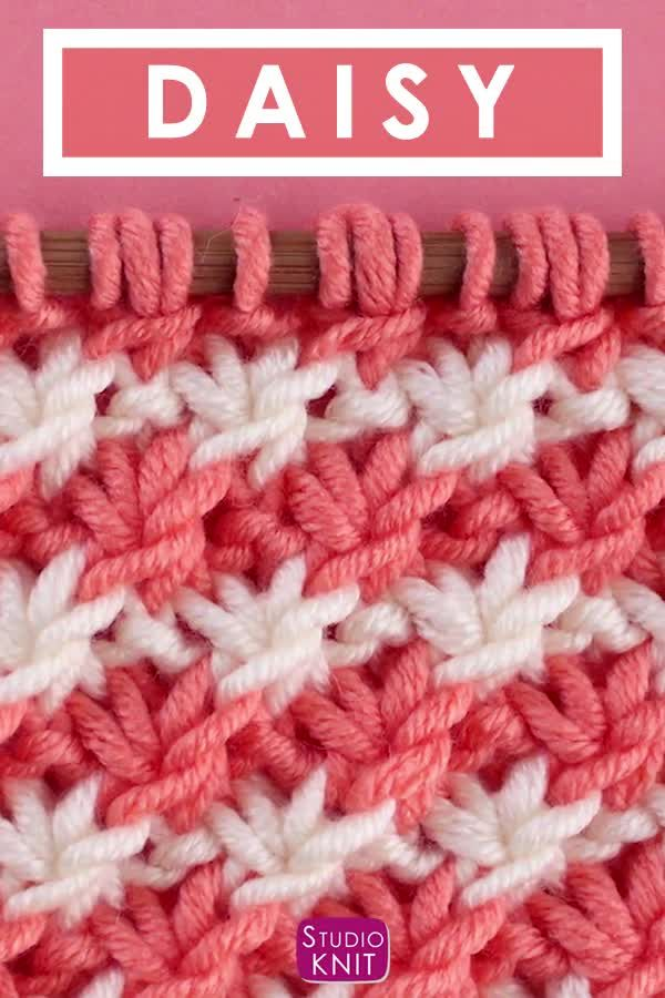 How to Knit the Daisy Flower Stitch with