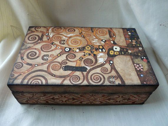 Tree of Life Jewelry Box Tree Jewelry Box Klimt by TwoCatsAndAnOwl