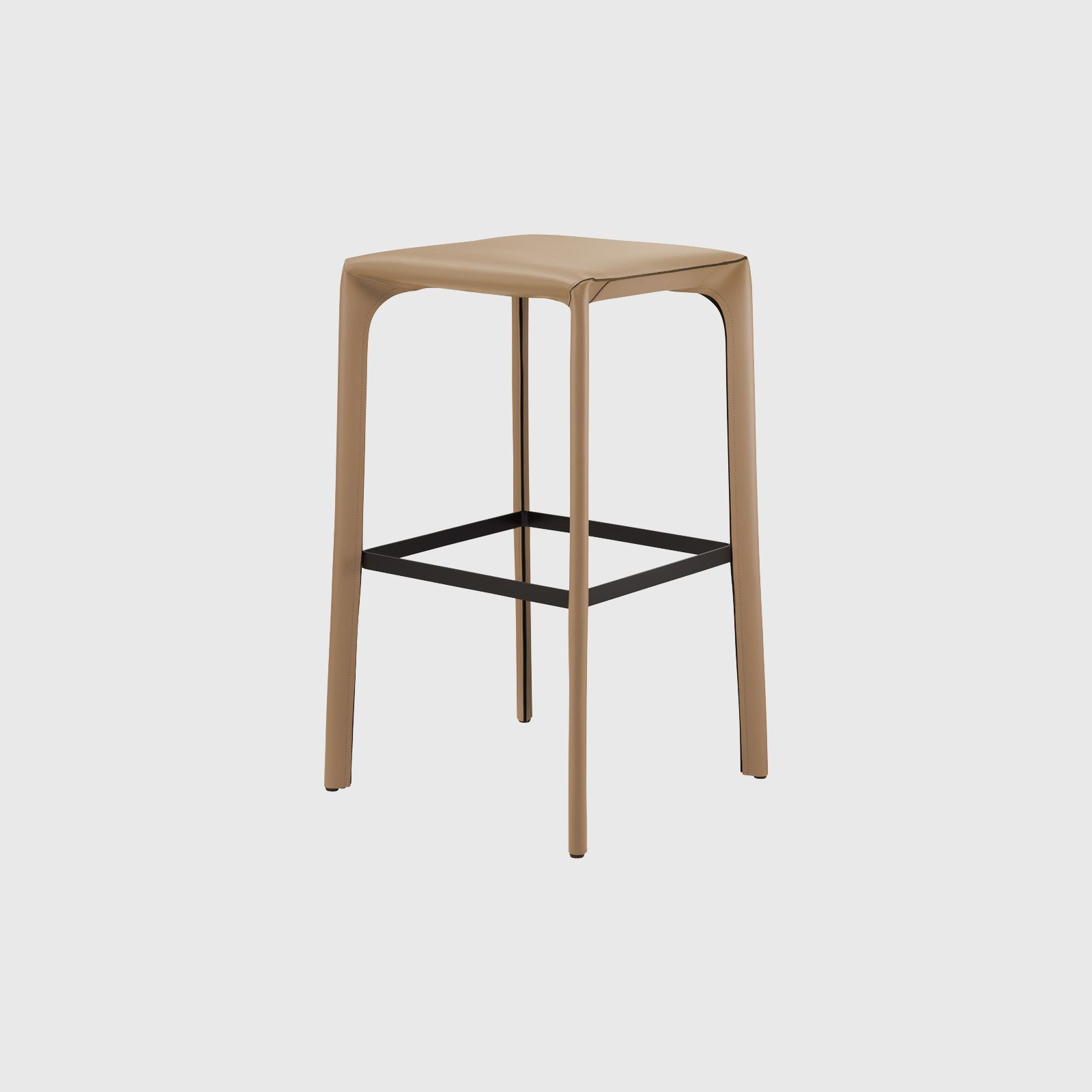 For Saddle Chair Barstool Without Back In Paco Leather Sand By Walter Knoll