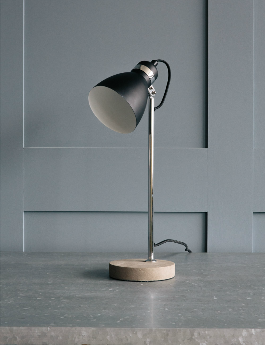 Metal Concrete Table Lamp At Rose Grey