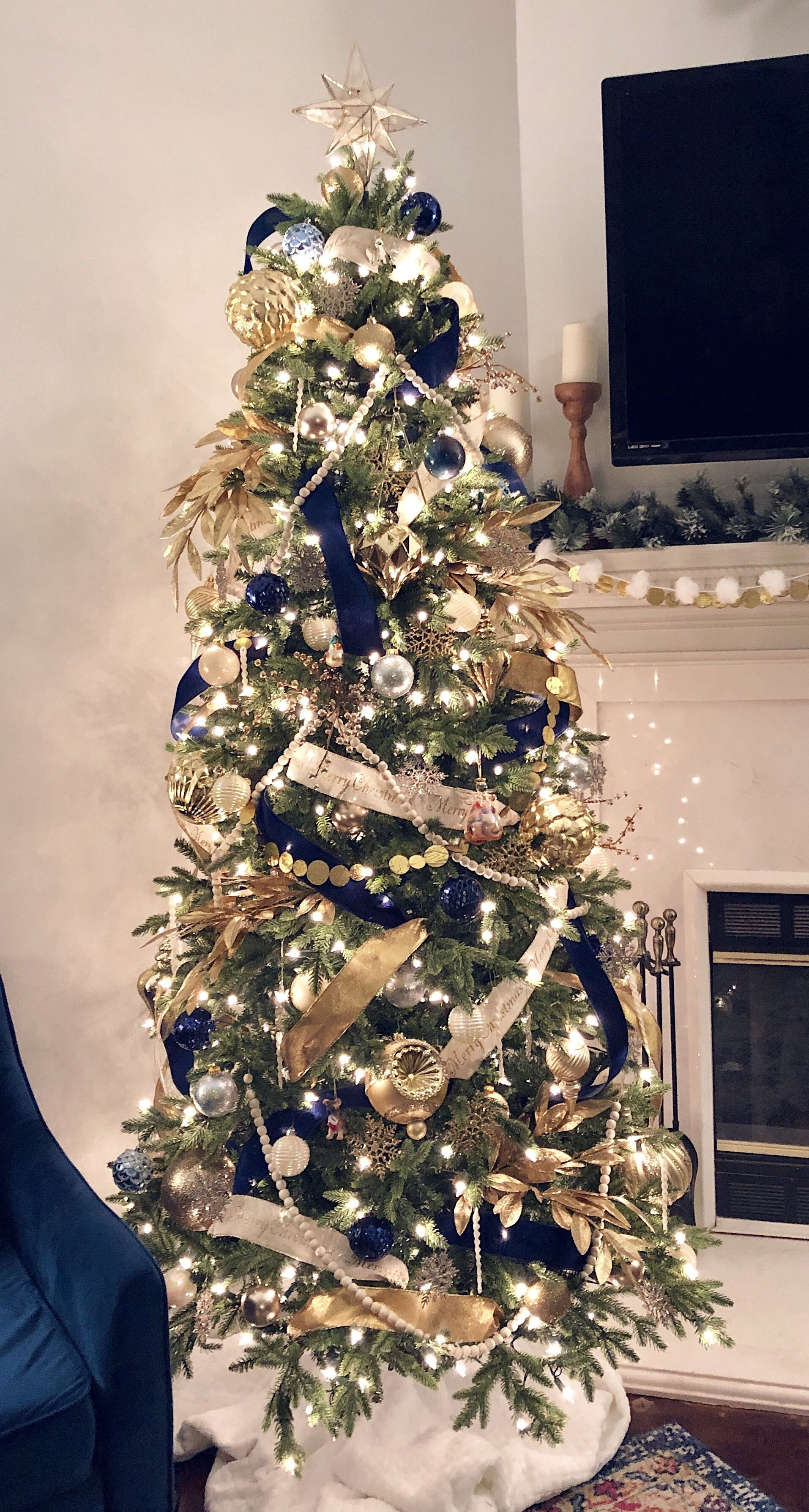 Navy Gold White Blue Christmas Tree Decorations Party Pretties Blue Christmas Tree Blue Christmas Tree Decorations Gold Christmas Tree Decorations