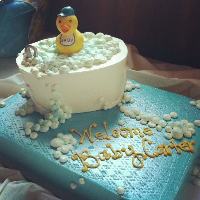 Rubber Ducky Baby Blue And Yellow Baby Shower Cake Cakes I Like