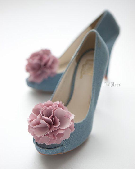 Vintage dusty Pink Ruffle flower shoe clips by finkshop on Etsy
