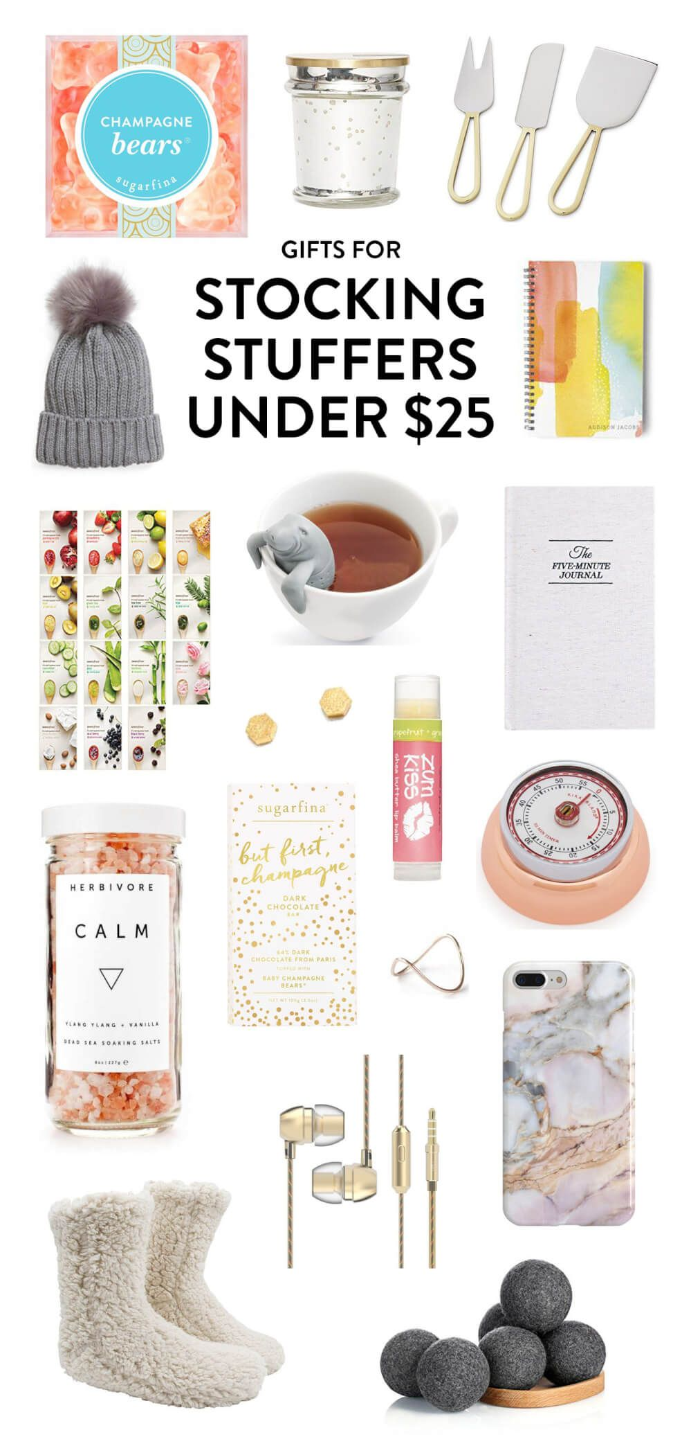 My favorite holiday gift ideas under 25 perfect for stocking my favorite holiday gift ideas under 25 perfect for stocking stuffing ideas include champagne bears a pretty candle cheese knives 5 minute journal negle Gallery