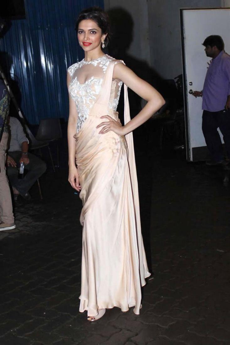 Deepika Padukone Inspired Gown Style Saree | Custom Made Dresses ...
