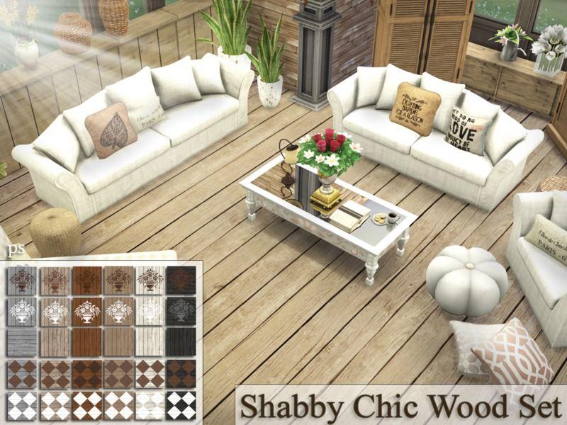 Pralinesims Shabby Chic Wood Set Sims 4 Flooring Sims