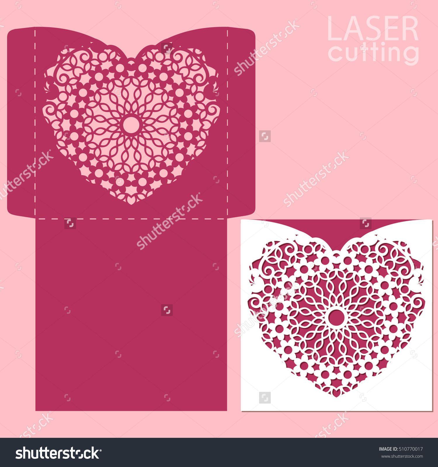 Die laser cut vector template wedding or valentine invitation die laser cut vector template wedding or valentine invitation mockup with lace heart template stopboris Images