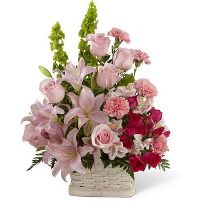 One Sided Arrangement With 5 Pink Lillies And 12 Pink Roses With 10 Carnation Funeral Flower Arrangements Basket Flower Arrangements Church Flower Arrangements