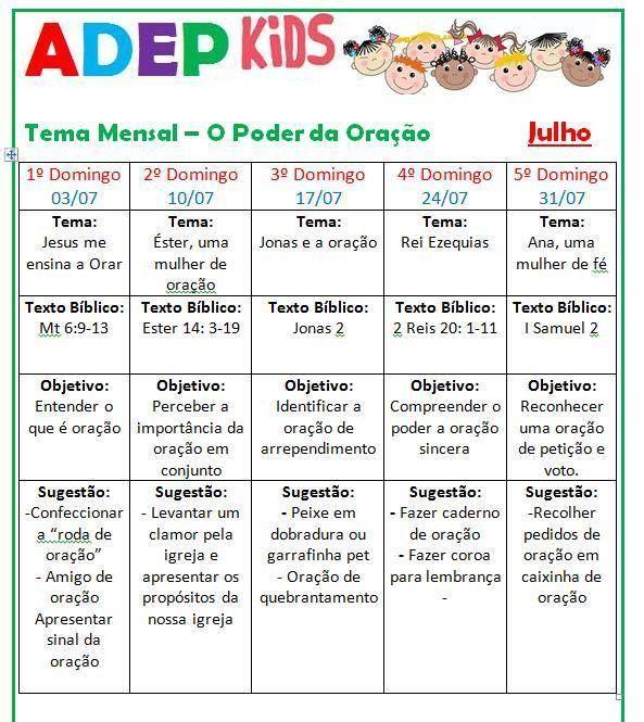 Planejamento Mensal para o Departamento Infantil :: Flavia