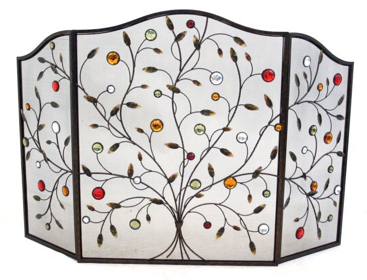 Bright Element For Fireplace Decoration - Decorative Jewel 3 Fold Fire Screen Spark Guard Living Room