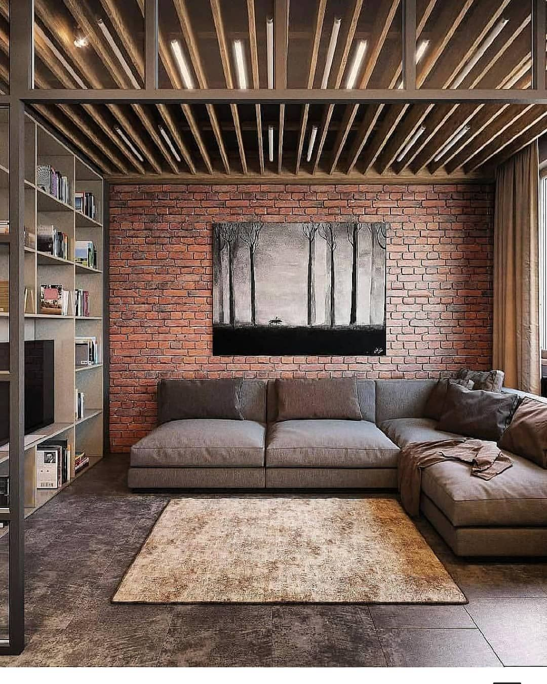 Corner Perfecto For Your Living Combination Brick With Brown Sofa #living # Design #designinterior