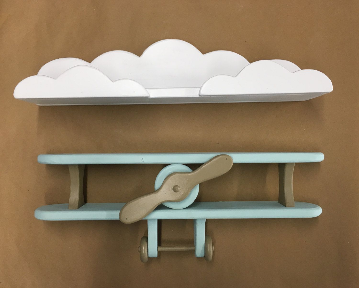 Everything Designish Baby Boy S Nursery: Baby Blue And Brown Handcrafted Wooden Airplane And White