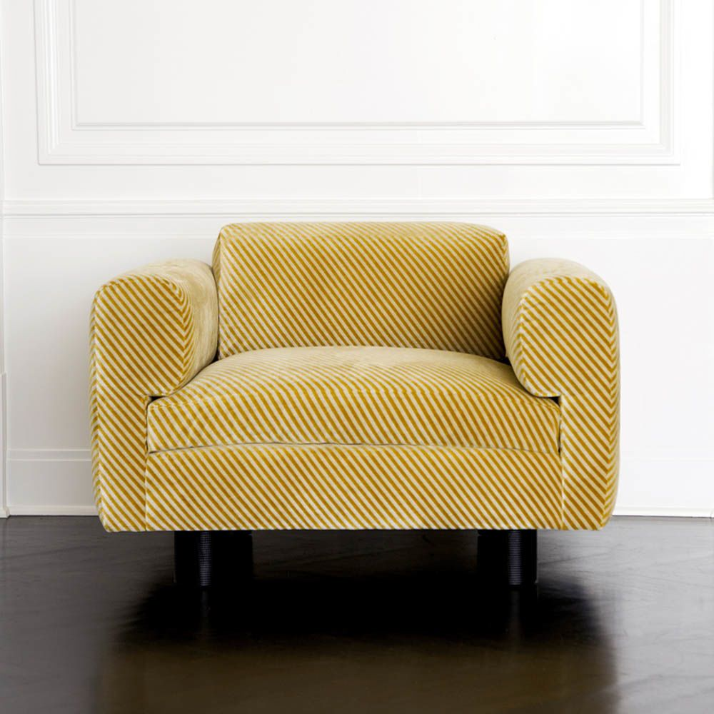 Kelly Wearstler Durant Club Chair Ebony Oak And Upholstered In Oblique Gold