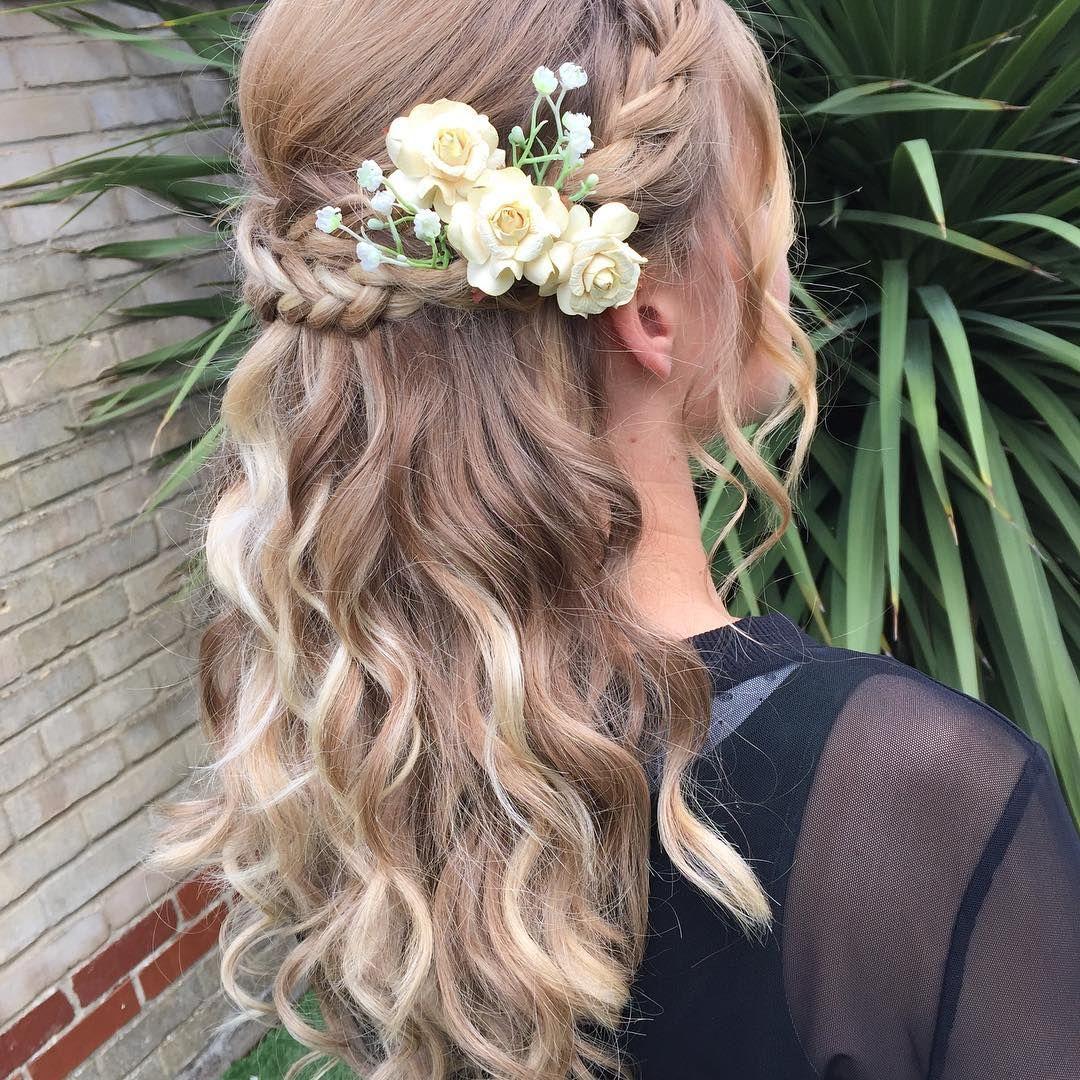 boho hair, wedding hair, bridal hair, wedding hair flowers, red hair