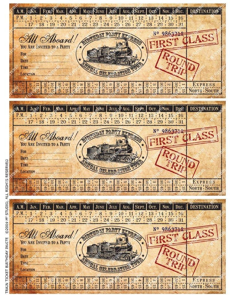 Printable Vintage Train Ticket Birthday Invitation 500 Via Etsy