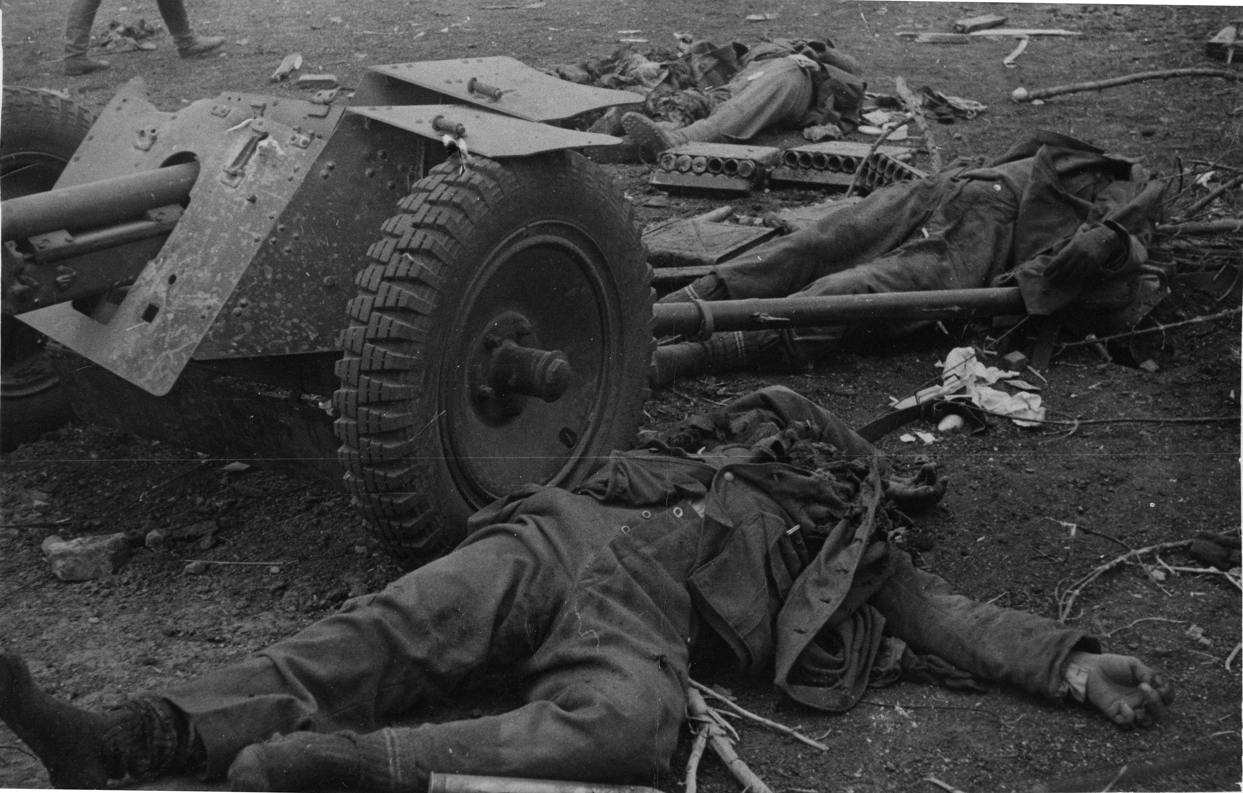 German 50 Mm Anti Tank Gun: The Crew Of The German 37mm Anti-tank Gun Have Been Killed