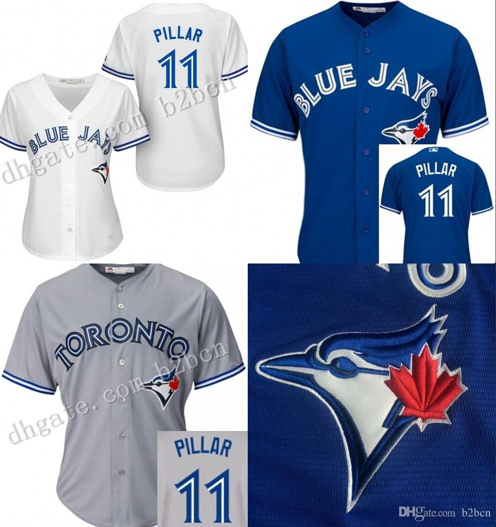 12eb29414a8 Hot Sale Womens Toronto Blue Jays  11 Kevin Pillar Jersey Stitched Authentic  Ladies Baseball Jersey For Sale Size S Xl From B2bcn