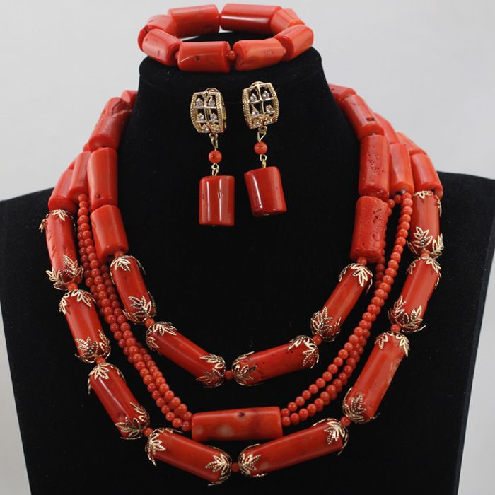 2016 Unique Design Trendy Peach Coral Beads Jewelry Sets African ...