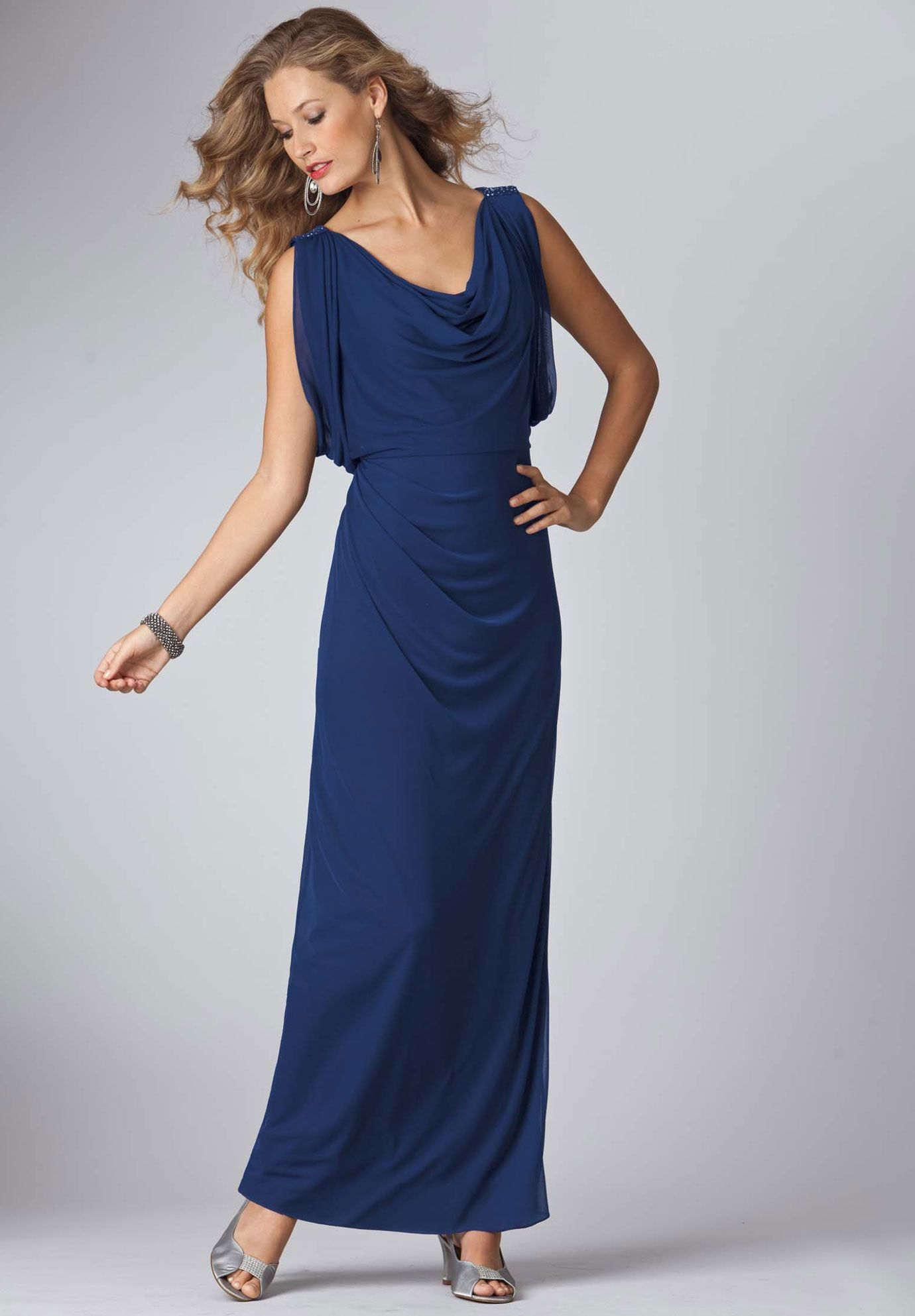 Beaded chiffon empire waist evening gown from roamans save on your