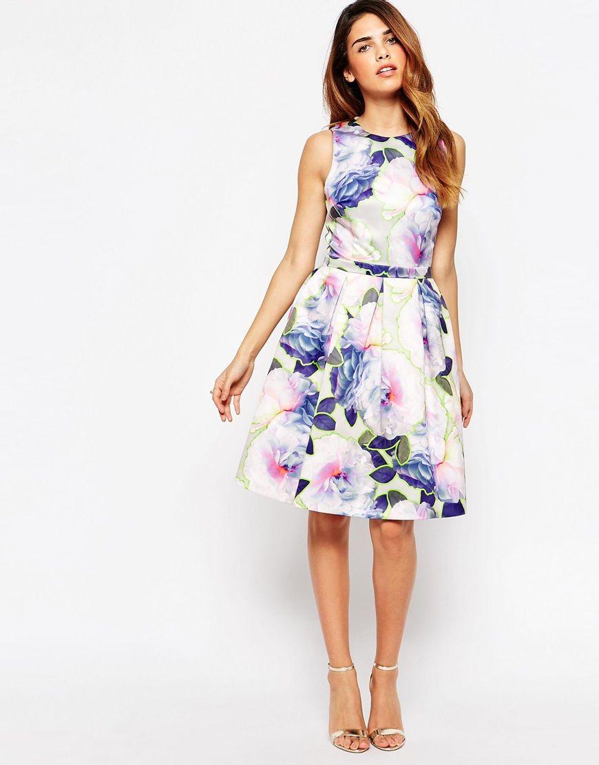 warehouse floral backless dress