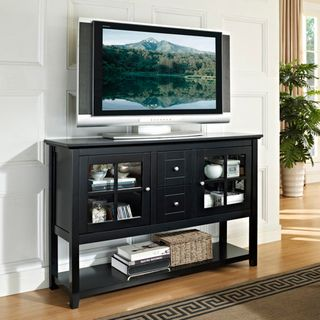Black 52inch Wood Console Table TV Stand Overstockcom Shopping