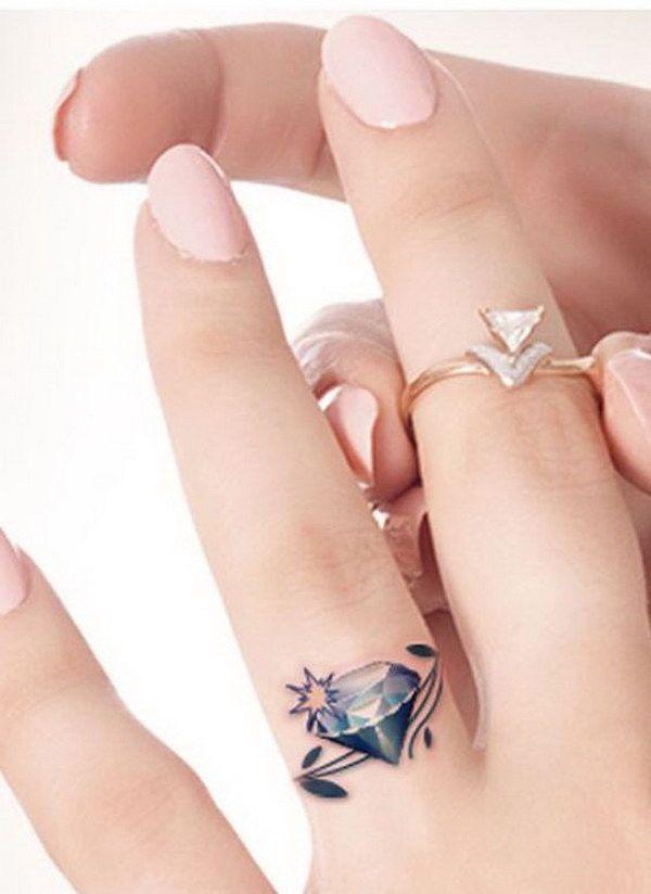 Gorgeous Diamond Wedding Ring Tattoo