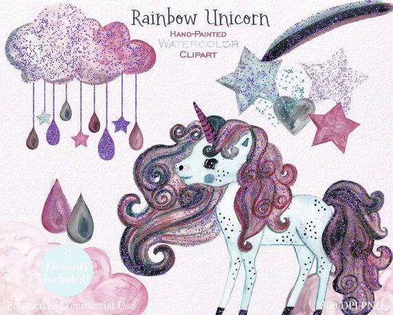 Unicorn Clipart Watercolor Unicorn clip art Purple Unicorn | Etsy