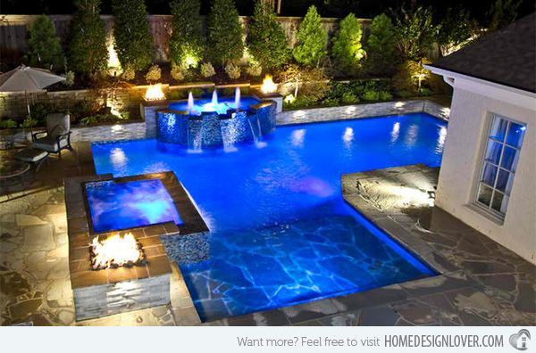 15 Dramatic Modern Pool Areas with Fire Pits Modern pools