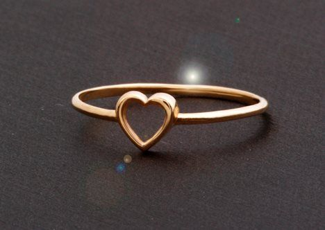 Two Tone 14K Solid Yellow Gold Fancy Small Heart Ring