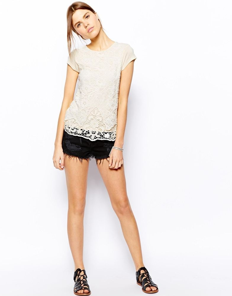 ASOS Warehouse Capped Sleeve Lace Top  UK Size:10  EU Size:38 RRP £38.00