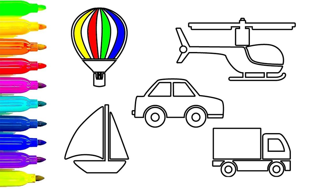 Learn Colors With Car And Truck Coloring Videos Vehicles Colouring Book Cars Coloring Pages Learning Colors Coloring Pages For Kids