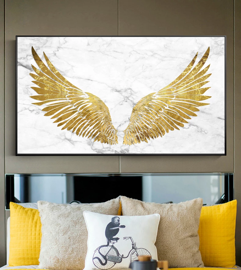 Luxurious Golden Wings On Marble Background Wall Art Fine Art