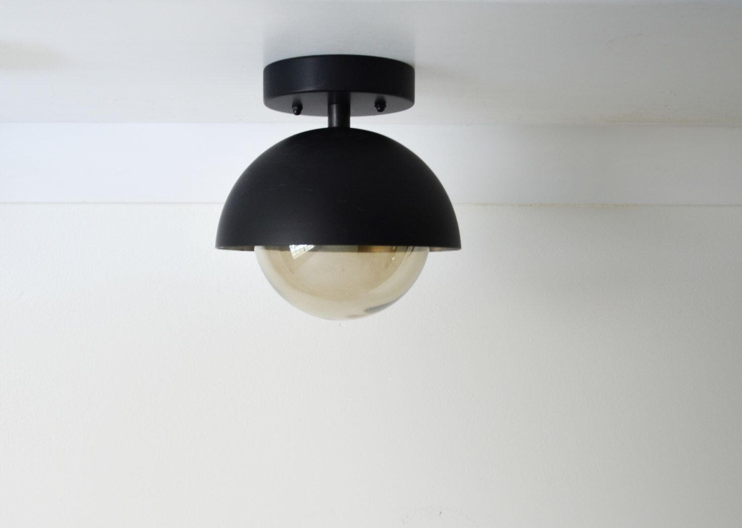 Gus Flush Mount Modern Matte Black Light Dome With Smoked