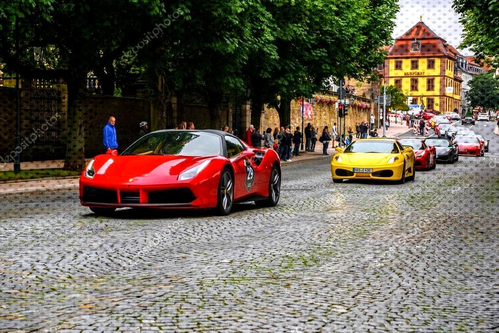 GERMANY, FULDA - JUL 2019: red FERRARI 488 coupe Type F142M is a mid-engine spor ,