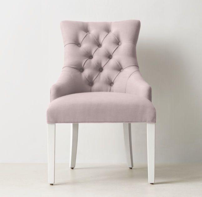 tufted desk chair fold out desks vintage velvet in dusty rose rh teen martine distressed white