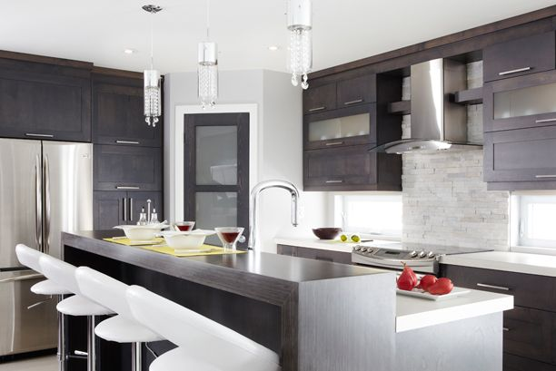 Armoires de cuisine de style moderne La totalité de ces armoires de - Cuisine Moderne Design Avec Ilot