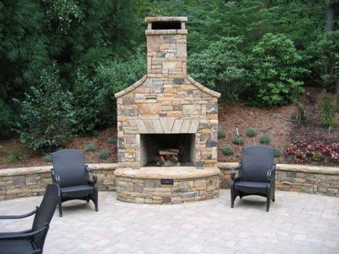 outdoor fireplace design ideas. Fireplace Flanked With Retaining Walls  Back Fire Grill