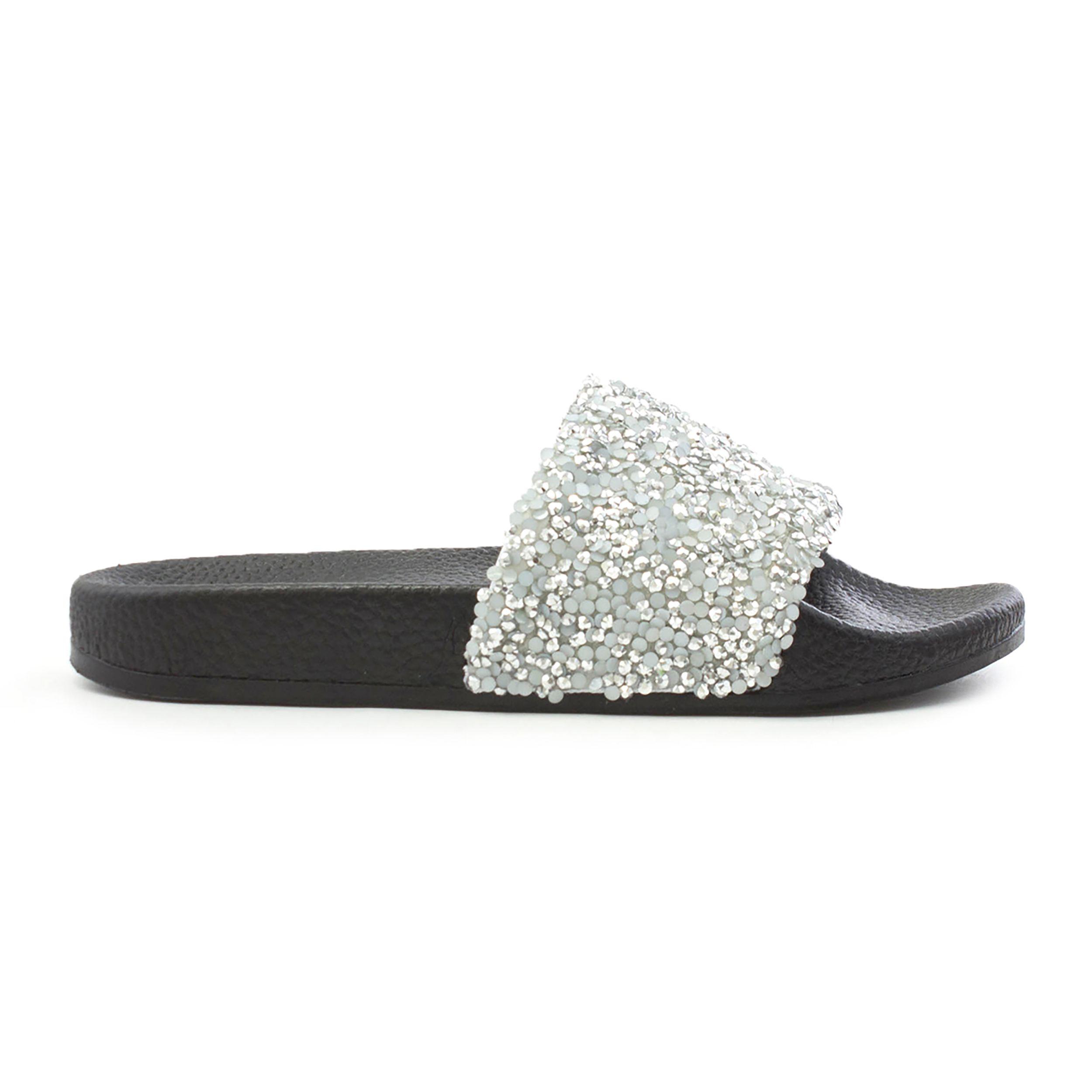 9e4052b0f1a5 Lilley Womens Silver Sequin Slip On Slider