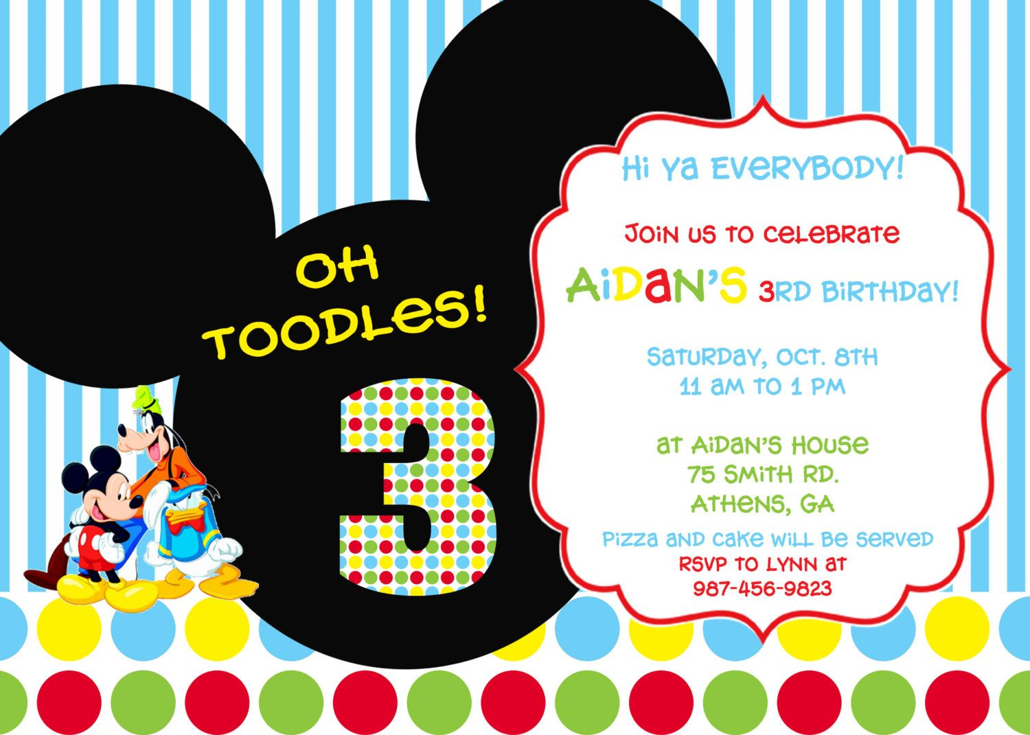 Colorful Mickey Mouse Clubhouse Party Invitation 800 via Etsy